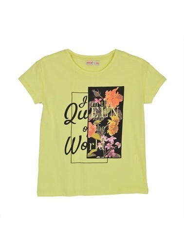 Silversun Kids Kız Genç Baskılı Kısa Kollu Tişört Bk 316192 Sarı